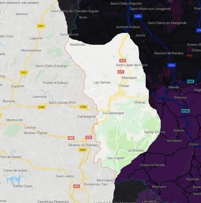 carte lozère frelons jpeg min - Lozère, société ALLO FRELONS, désinsectisation la Canourgue 48